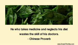 He who takes medicine and neglects his diet