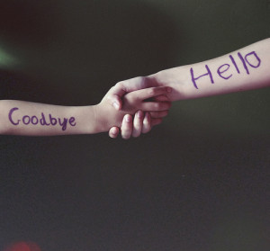 arms, goodbye, hello, holding hands, sayings, writing