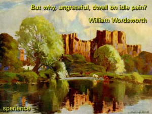 LBut why, ungrateful, dwell on idle pain? -William Wordsworth