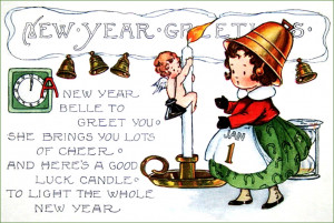 Vintage New Year postcards: Little girl with bell hat and sweet New ...