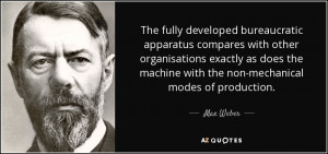 MAX WEBER QUOTES ON BUREAUCRACY