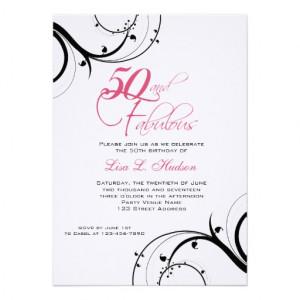Pink Black Swirls 50th and Fabulous! Birthday Invites | Zazzle.co.uk