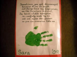 hand print and a poem