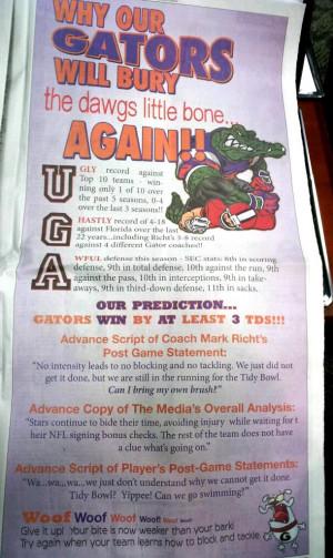 Georgia vs. Florida: Gator Ad in Bulldog Paper Fuels the Fire in ...