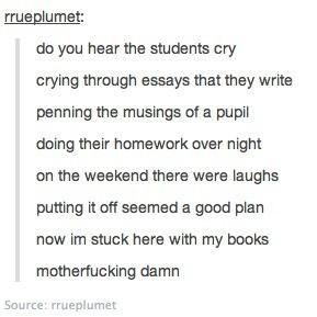 funny school student work homework chemistry les mis les miserables I ...
