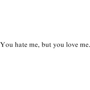you hate me, but you love me quote.