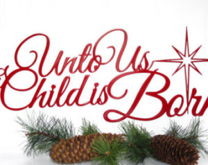 Christmas M etal Sign - Red, 19.5x8, Christian Sign, Religious Quote ...