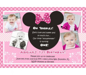 Minnie Mouse Invitations Wording Of the invitation/card.