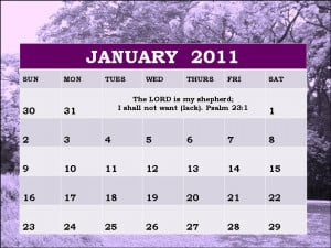 ... this Free Christian Monthly Planner 2011 January with Bible verses
