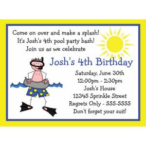 Swim Party Boy Birthday Invitation-summer, pool party, pool, swimming ...