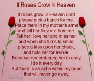 ... Poems For Mothers In Heaven Rose, Mom Birthday, Happy Birthday