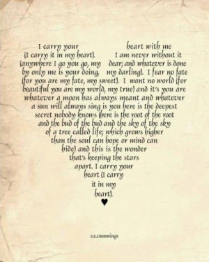 Love Poem Art Print EE Cummings I carry you in my heart always heart ...