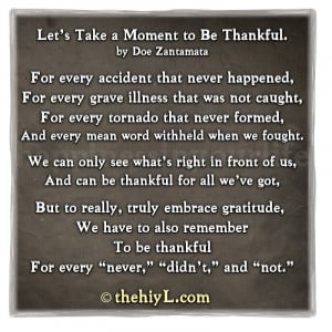 Let's Take a Moment to Be Thankful.