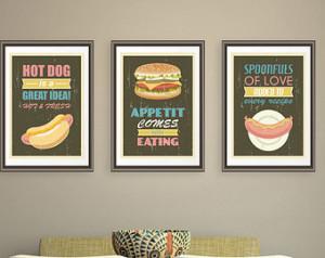 Art Prints Hot Dog Hamburger Sausage Kitchen Quotes Posters