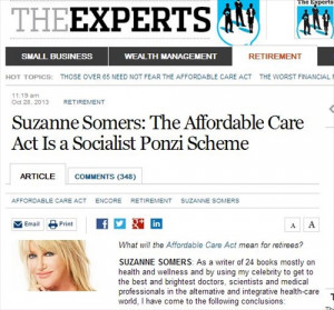 Fake Quotes in Suzanne Somers' Health Care Article, WSJ Corrects