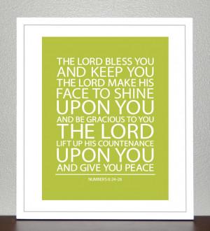 Baptism Gift - Bible Verse - Numbers 6 ( Green Apple ) - 8x10 Print. $ ...