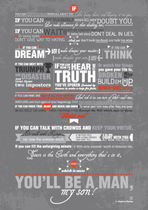Rudyard Kipling inspirational Poem Quote IF Typography Art Poster ...