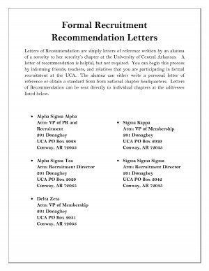 Sorority Recommendation Letter Sample
