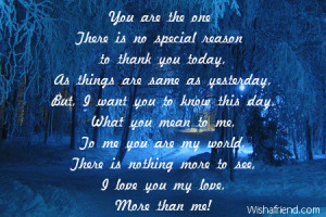 You Mean So Much To Me Poems You are the one