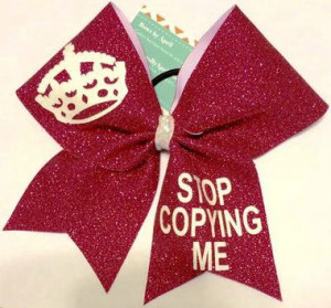 Home All Bows Cheer Quotes Stop Copying Me Red Glitter Cheer Bow