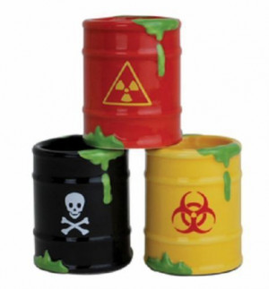 Toxic Waste Barrel Shot Glasses Poison Nuclear Biohazard Order at our ...