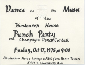 Henderson House Punch Party Invitation, 1975. University of Chicago ...