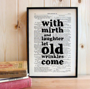 Shakespeare Quote printed on framed vintage book page Birthday Gift ...