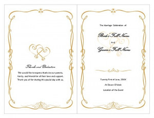 Guidelines for writing wedding programs