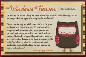 the windows of heaven by elder david a bednar