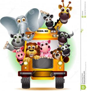 Vector illustration of funny animal on yellow school bus.