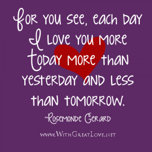 Cute Love quotes, each day I love you more