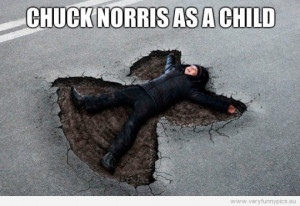 Funny Picture - Chuck Norris as a child - Snow angels in asphalt