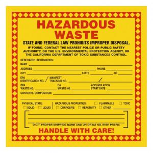 Hazardous Waste Label Example