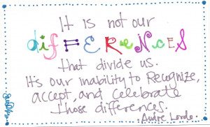 It is not our differences that divide us. It's our inability to ...