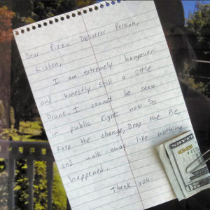 Hungover Man Leaves Hilarious Note For Pizza Delivery Guy