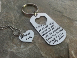 Couples Quote Hand Stamped Dog Tag Set