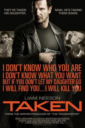 Description: Liam Neeson as Bryan Mills, ex-CIA agent threatening a ...