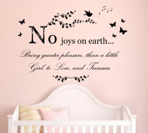 No Joys on Earth Quote, Girls Bedroom Vinyl Wall Art Sticker Decal ...