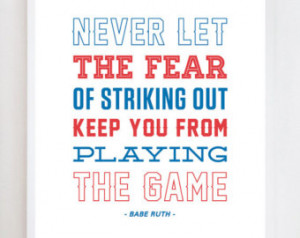 Babe Ruth Quote Baseball Wall Art P rint ...