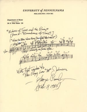 Autograph Musical Quotation. , signed Signed