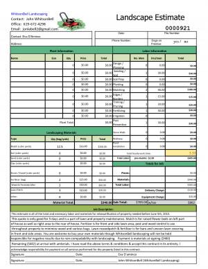 lanscaping estimate sheet