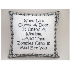 ... Funny Quote, Black and White Pillow, Zombie Quote. $20.00, via Etsy