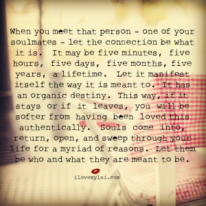 When you meet one of your soulmates, let the connection be what it is