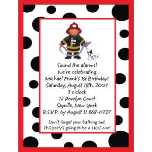 Fireman Birthday Invitation-fireman, dalmation