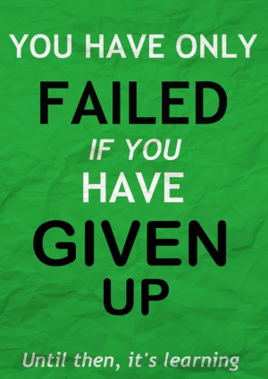 You have only failed if you have given up. Until then, it's learning ...