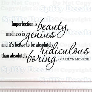 Imperfection is Beauty Marilyn Monroe wall quote