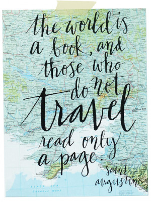Travel quote on vintage atlas page screenprint by Mint Afternoon