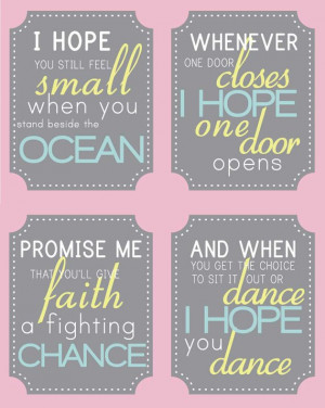Cute Dance Quotes For Girls I hope you dance quote set by