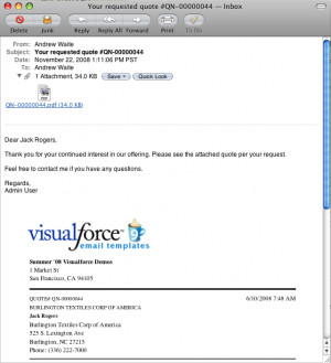Visualforce Sample - PDF Quotes and Email Templates
