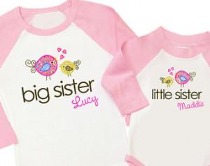Big sister little sister whimsy bir d matching raglan sleeve sibling ...